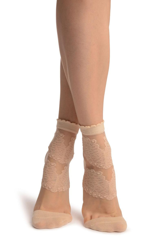 Beige Hearts On Invisible Mesh Ankle High Socks