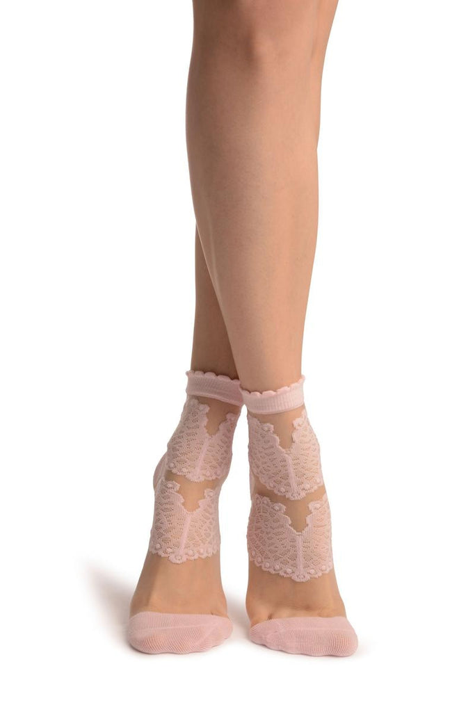 Baby Pink Hearts On Invisible Mesh Ankle High Socks