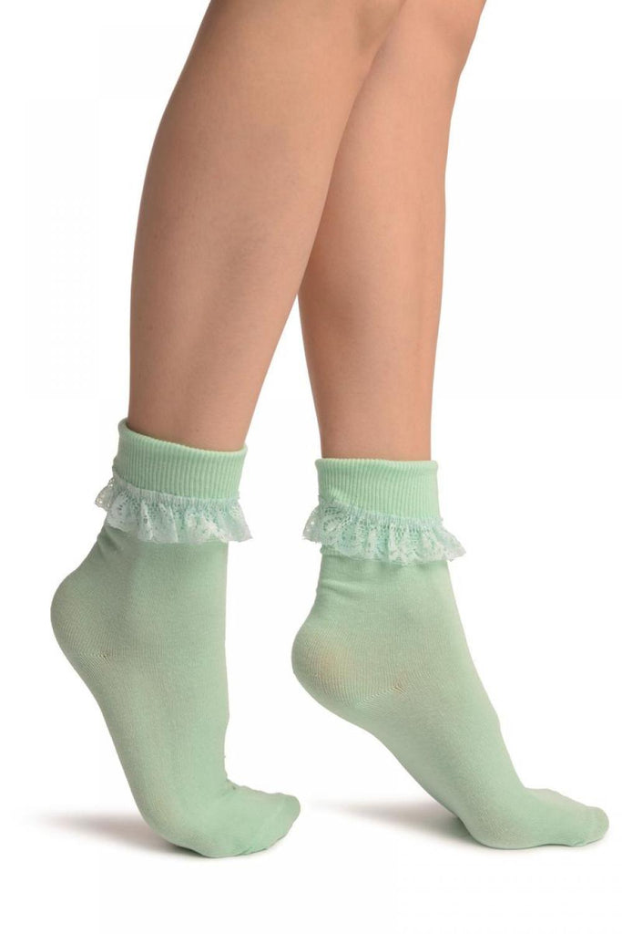 Celadon Green With Pink Lace Trim Ankle High Socks