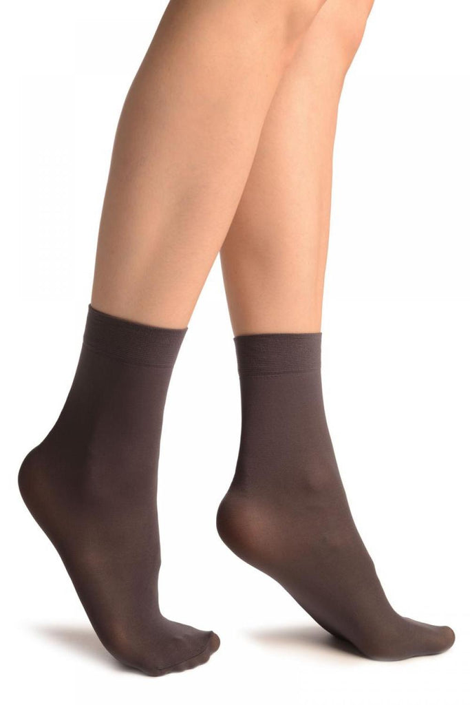 Dark Grey Plain Ankle High Socks