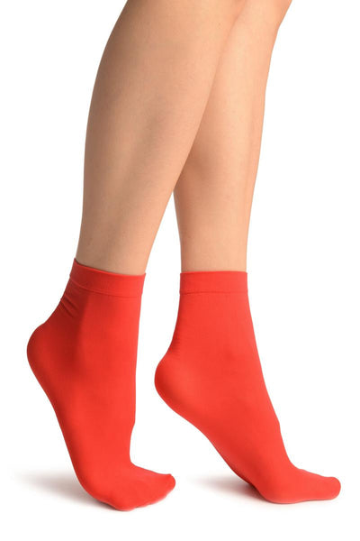 Red Plain Ankle High Socks