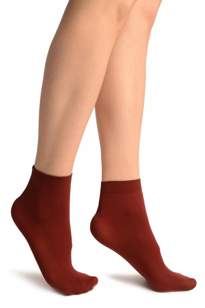 Burgundy Red Plain Ankle High Socks