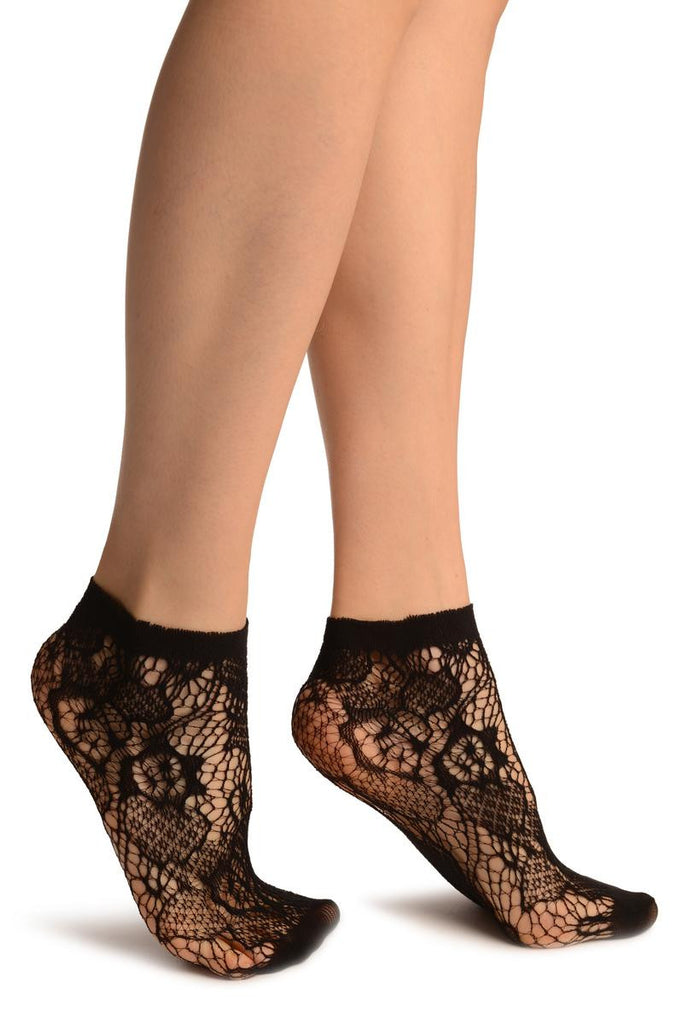 Black Roses Lace Socks Ankle High