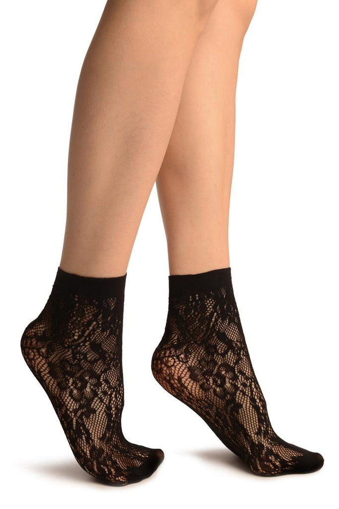 Black Pearls & Flowers Lace Socks Ankle High