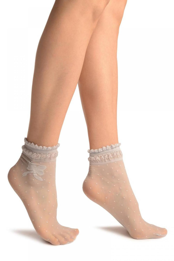 Grey With Dots & Bow Comfort Top Ankle High Socks