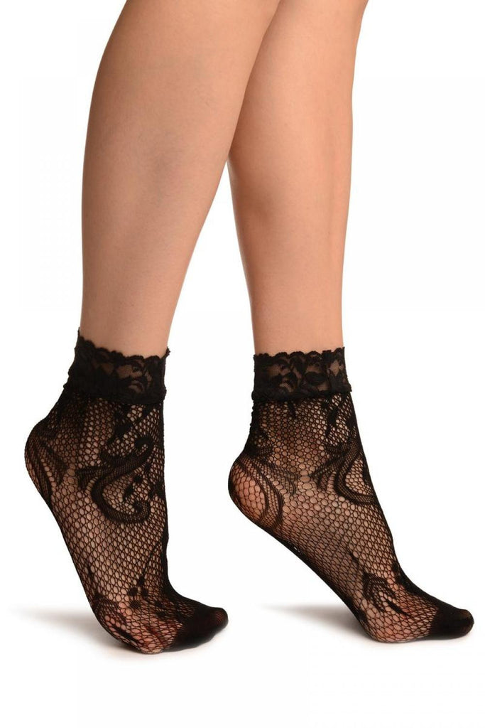 Black Gladiolus Flowers Lace Ankle High Socks