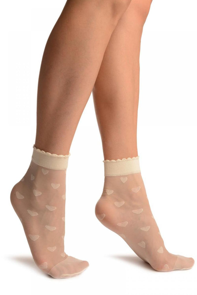 Cream With Hearts Ankle High Socks