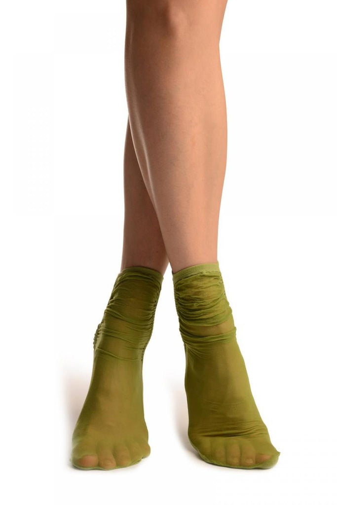 Green Sheer & Opaque Sides Ankle High Socks