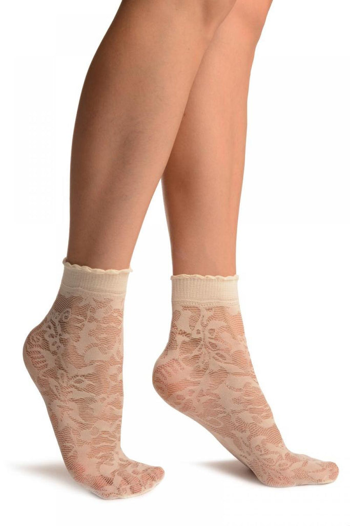 Cream Mesh With Large Roses Ankle High Socks