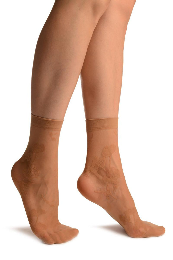 Beige With Large Poppy Flowers Ankle High Socks