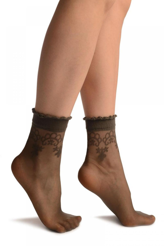 Grey With Large Woven Flowers Top Ankle High Socks