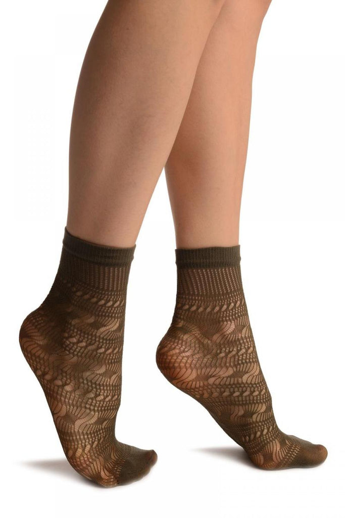 Grey Crochet Layered Lace Top Ankle High Socks