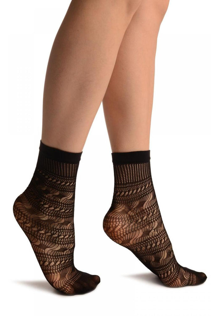 Black Crochet Layered Lace Top Ankle High Socks