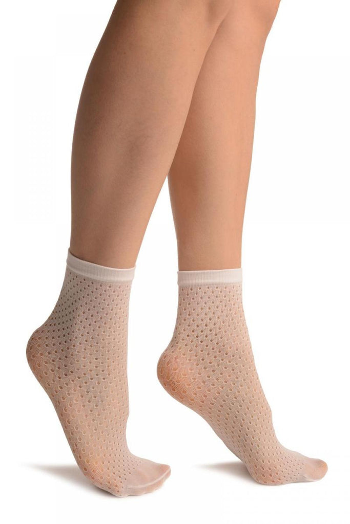 White Crochet Polka Dots Lace Top Ankle High Socks