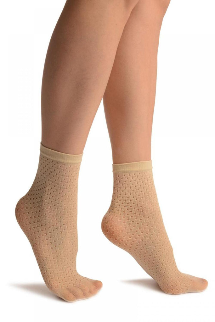 Cream Crochet Polka Dots Lace Top Ankle High Socks