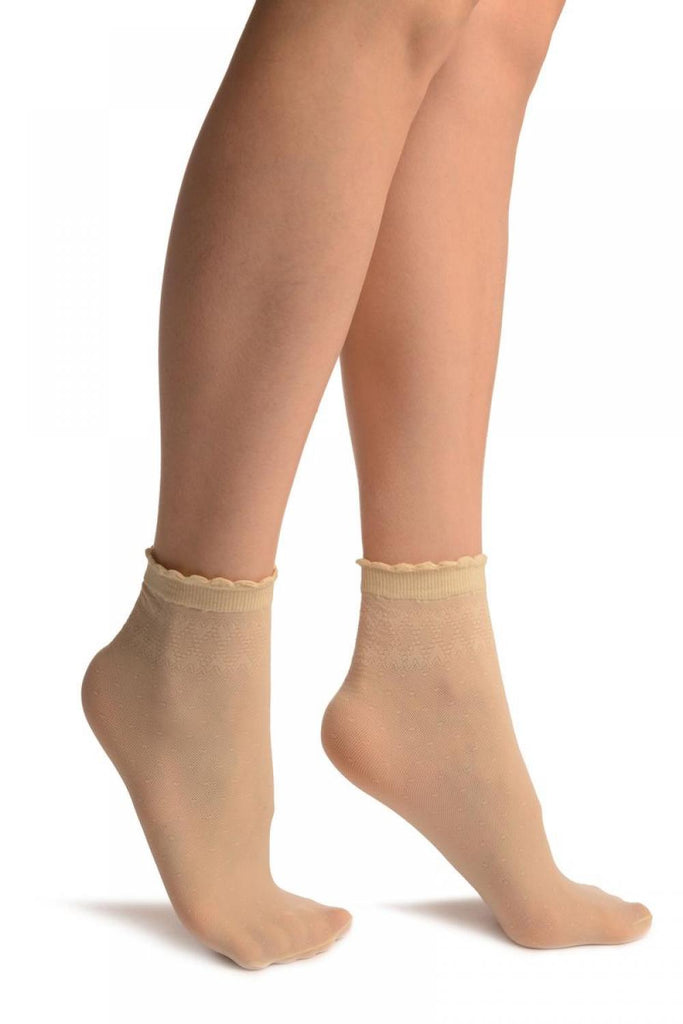 Cream Small Polka Dots And Rhombus Tops Ankle High Socks