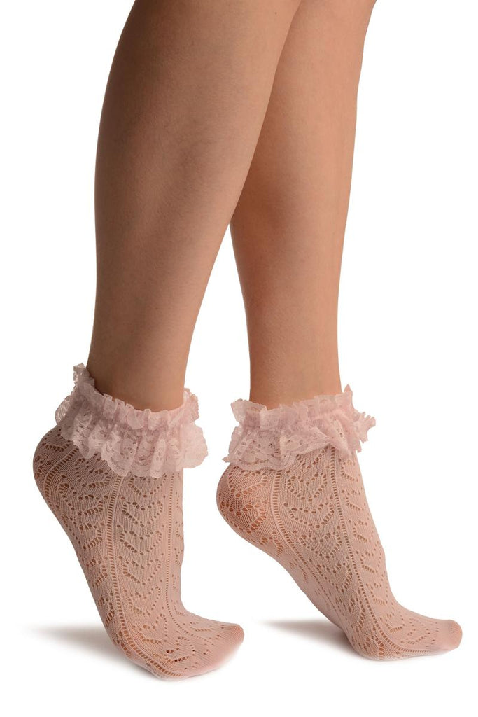 Pink Crochet Hearts And Lace Trim Top Socks Ankle High