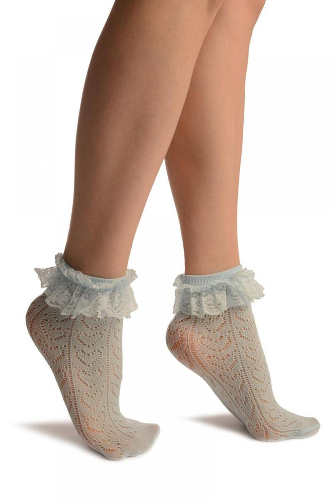 Blue Crochet Hearts And Lace Trim Top Socks Ankle High