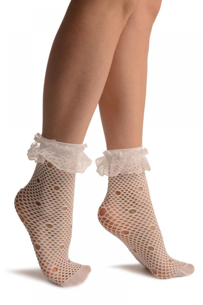 White Large Fishnet With Keyholes Socks Ankle High