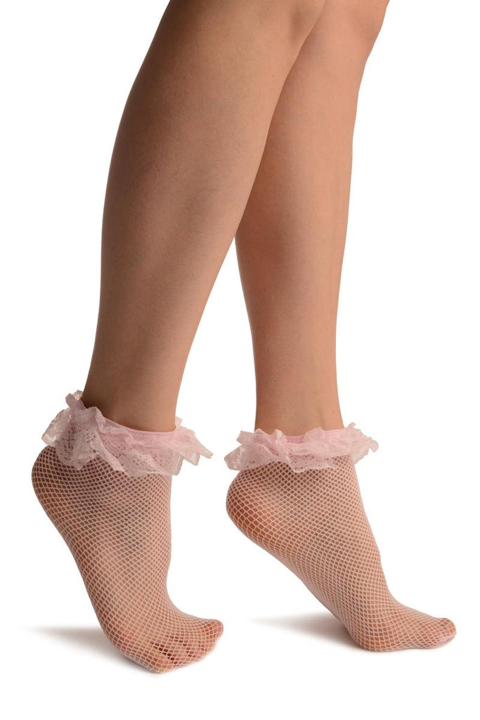 Pink Fishnet With Lace Trim Socks Ankle High