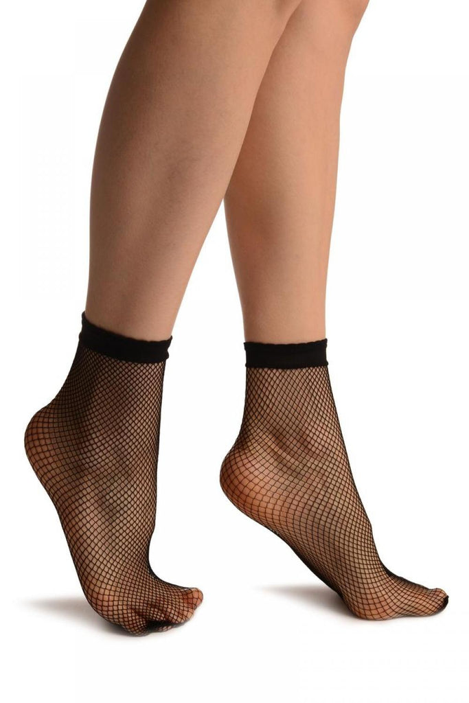 Black Small Fishnet With Lace Trim Socks Ankle High