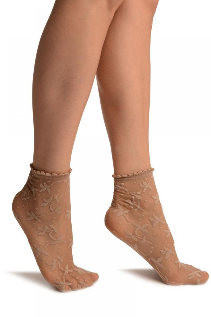 Beige Flowers Ankle High Socks With Comfort Top