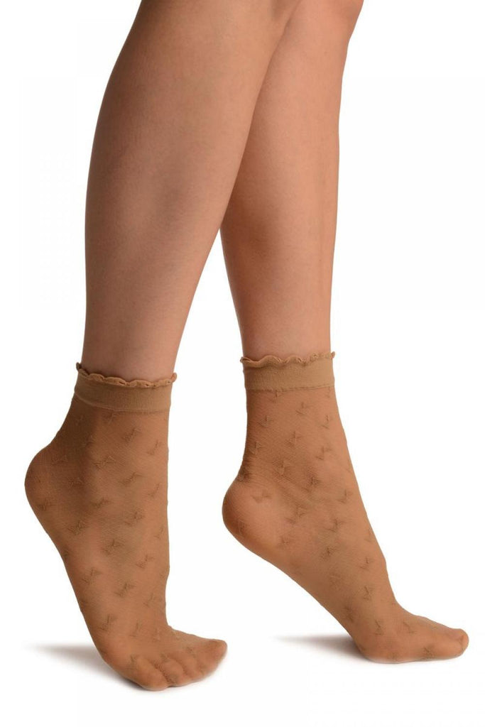 Beige Little Bows Ankle High Socks