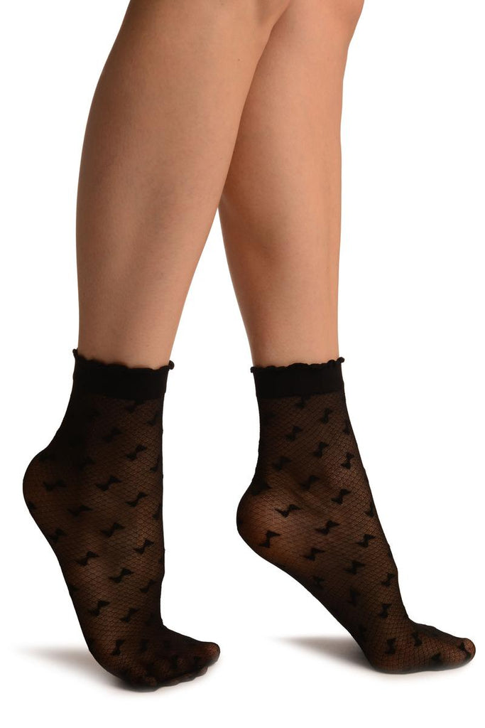 Black Little Bows Ankle High Socks