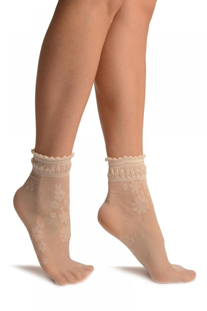 Cream Flowers Bouquet Ankle High Socks With Comfort Top