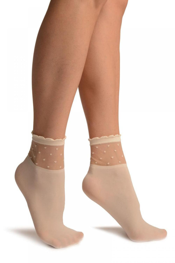 Cream Opaque With Sheer Spotty Top Ankle High Socks