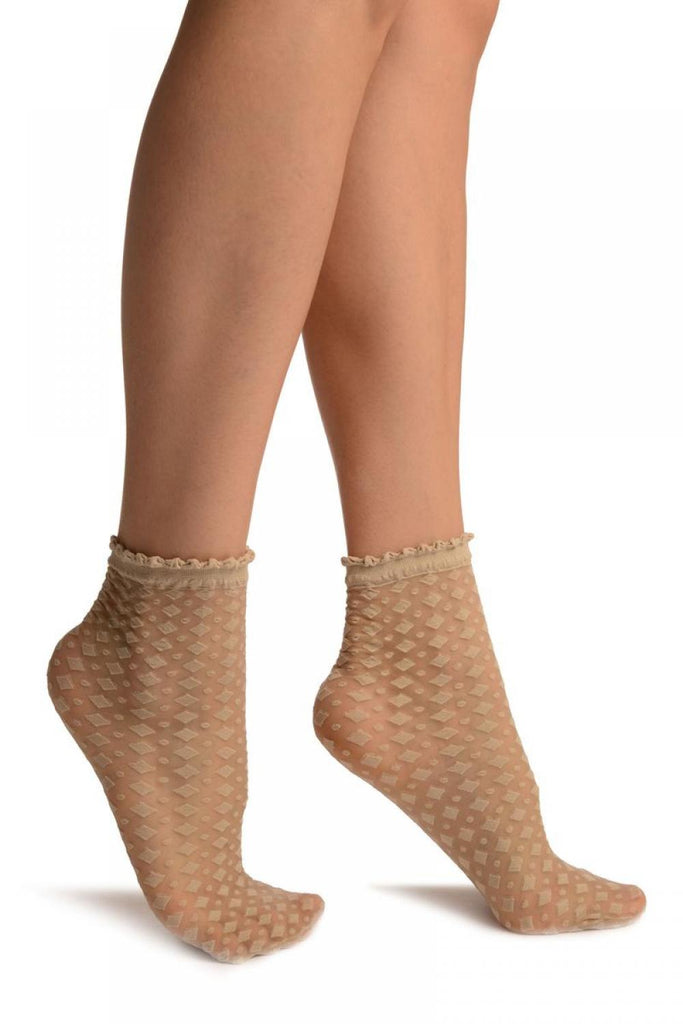 Nude Rhomb & Dots Ankle High Socks With Comfort Top