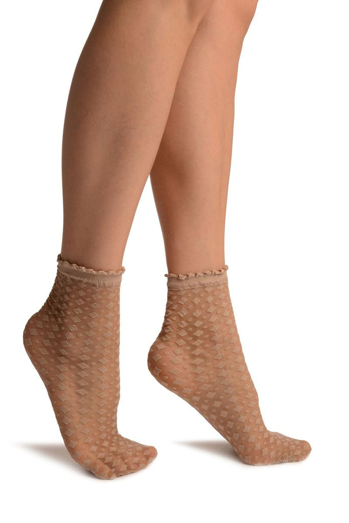 Beige Rhomb & Dots Ankle High Socks With Comfort Top