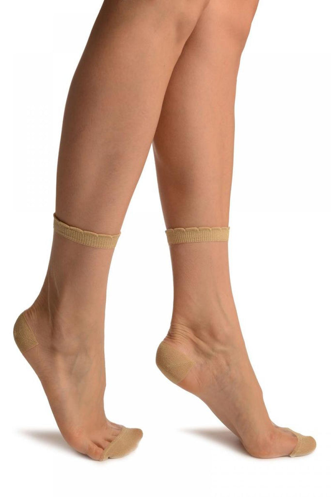 Gold Lurex Top & Heel Invisible Ankle High Socks