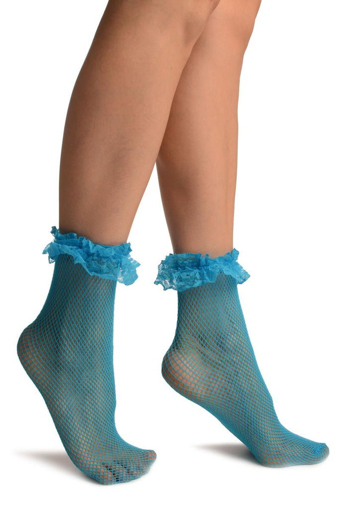 Azure Blue Fishnet With Ruffle Ankle High Socks