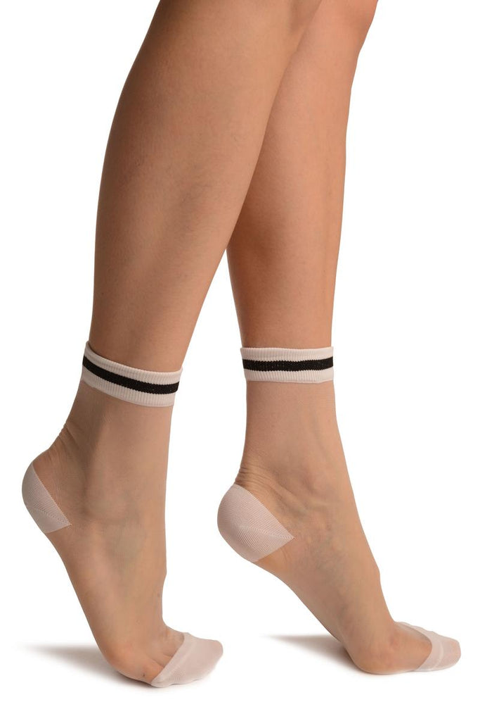White Invisible Socks With Black Striped Top Ankle High Socks