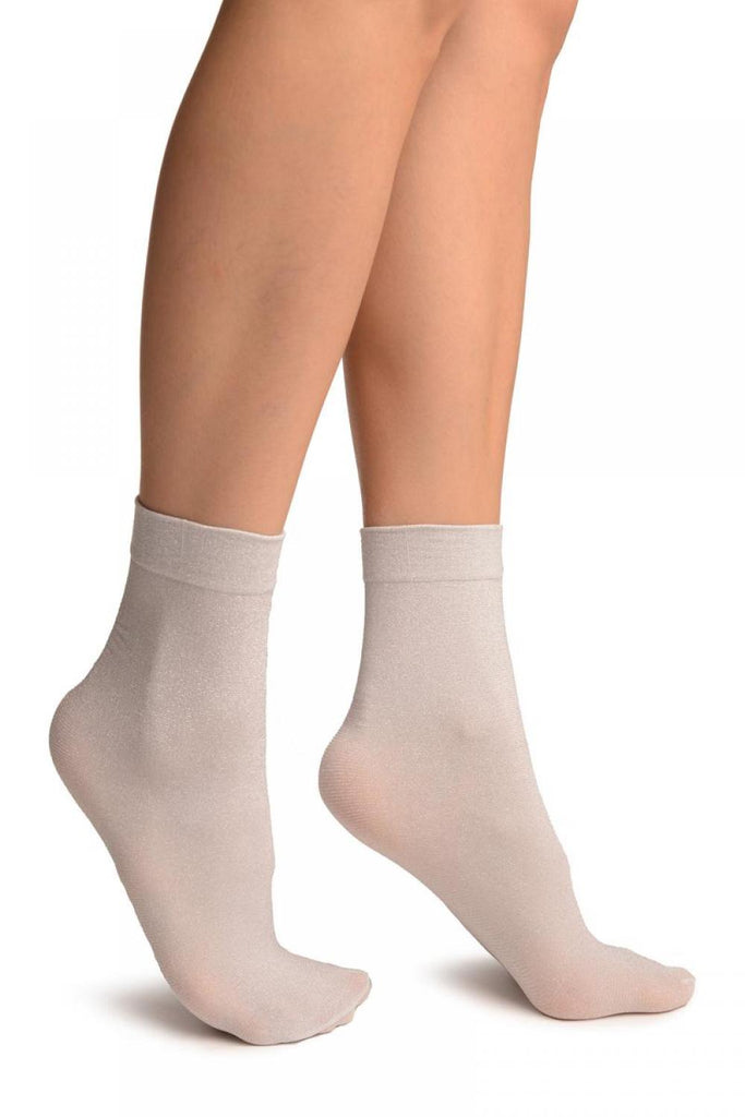 White Silver Lurex Ankle High Socks