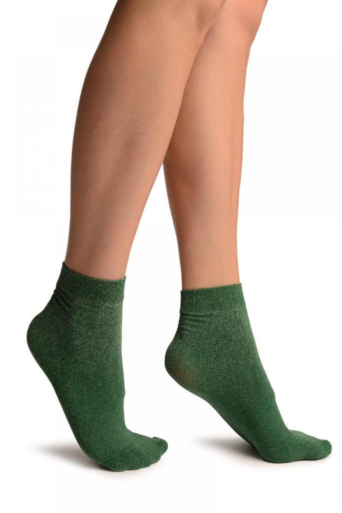 Green Silver Lurex Ankle High Socks