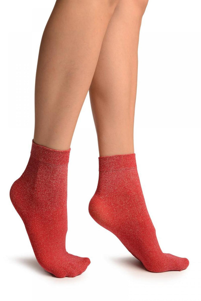 Red Silver Lurex Ankle High Socks