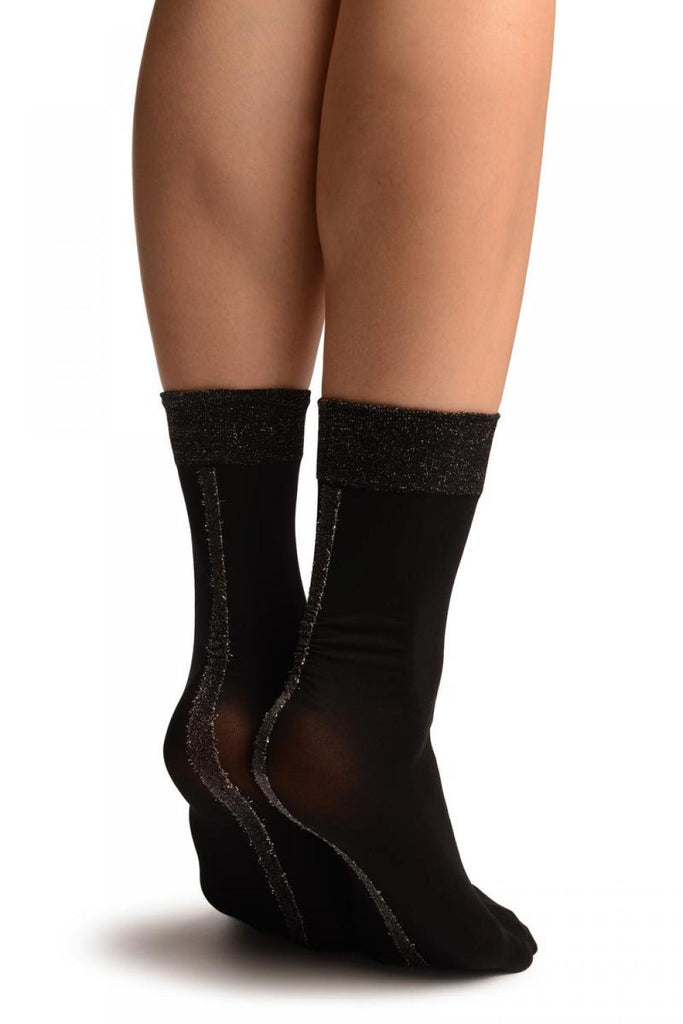 Black With Silver Lurex Wide Back Seam Ankle High Socks