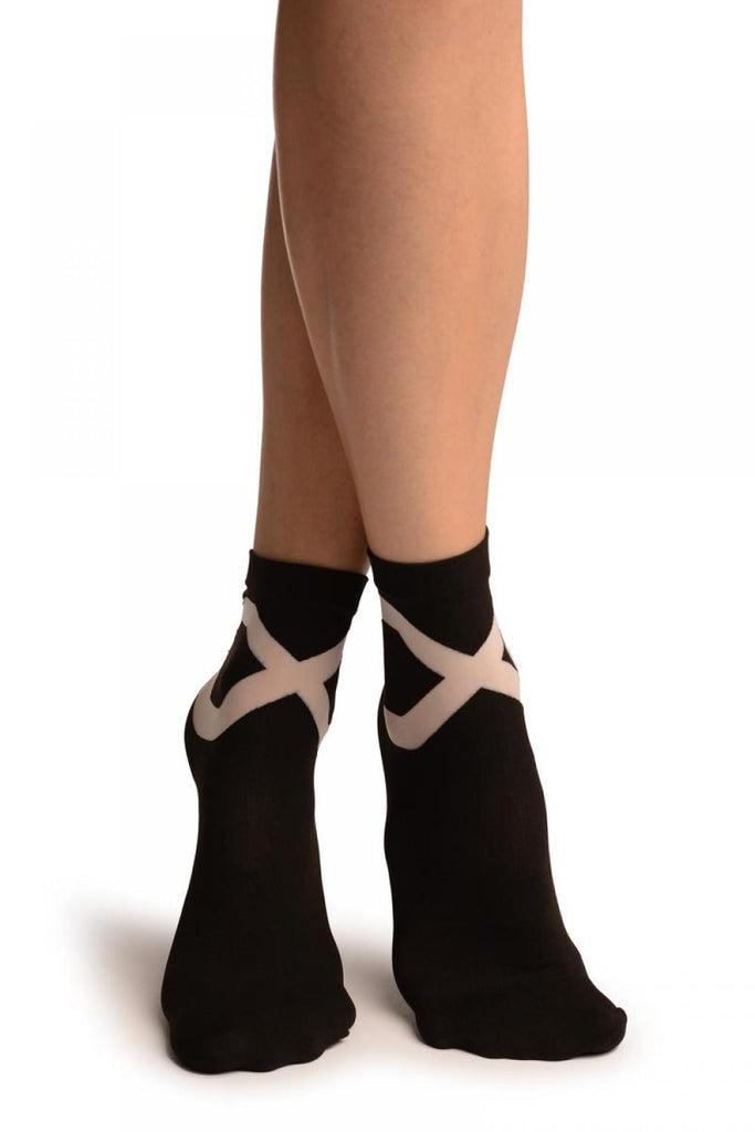 Black With White Sheer Criss-Cross Ankle High Socks