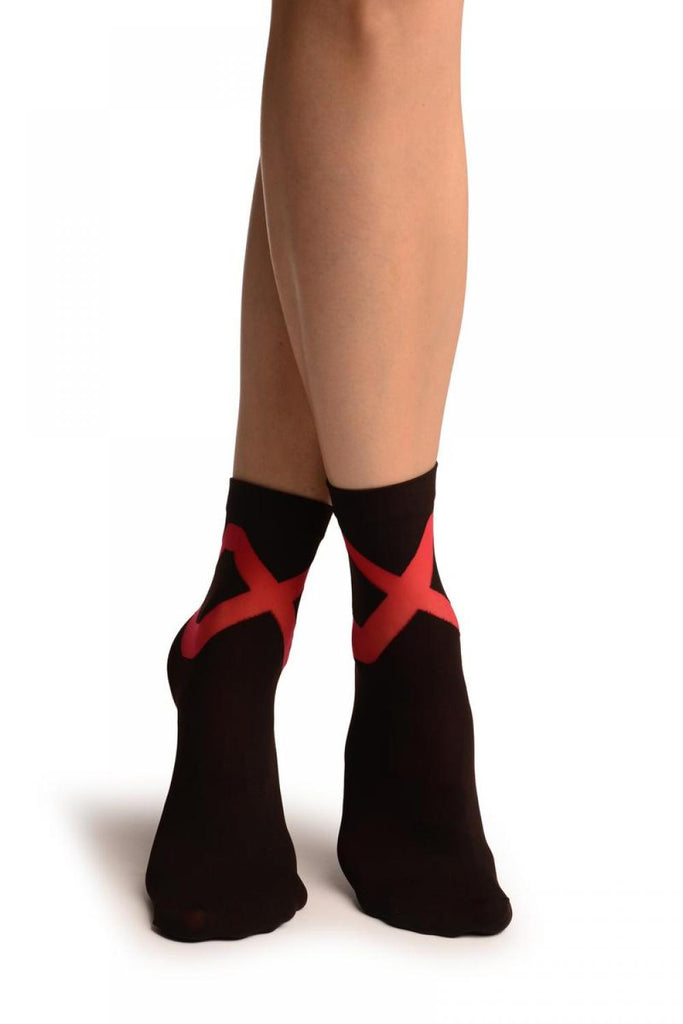Black With Red Sheer Criss-Cross Ankle High Socks
