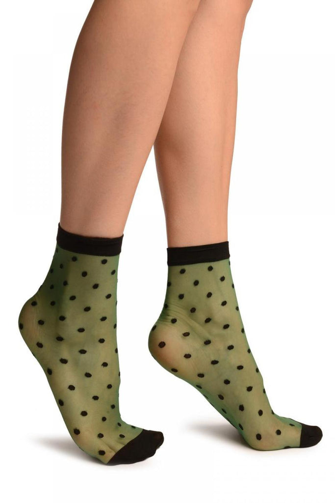 Green With Medium Black Polka Dots Ankle High Socks