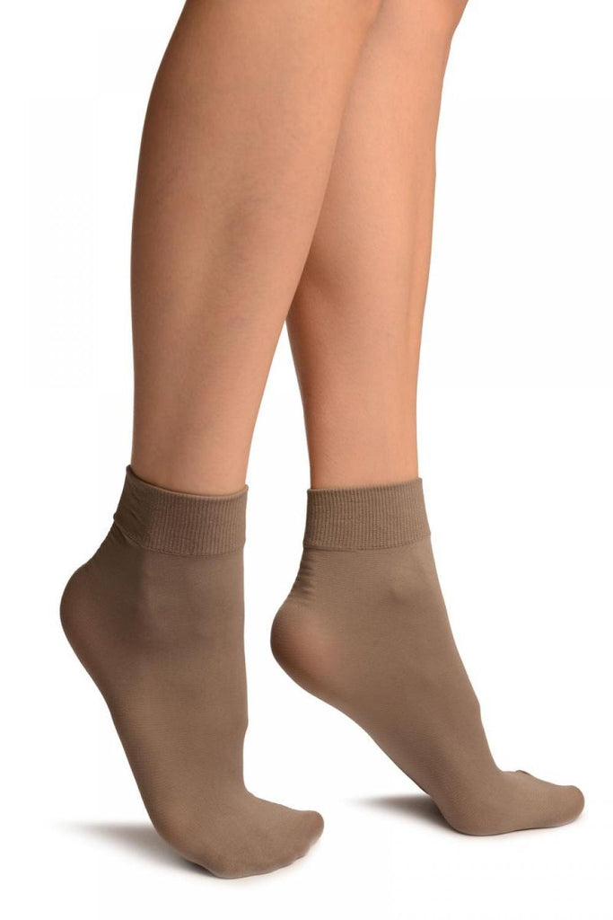 Mocha Comfort Top Strong Ankle High Socks