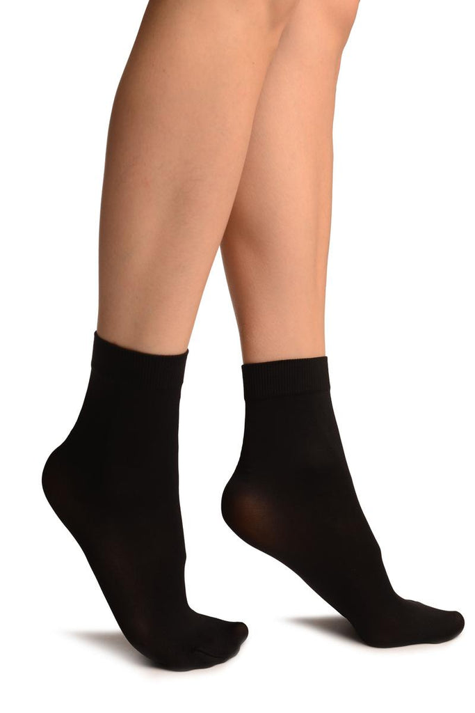 Black Comfort Top Strong Ankle High Socks