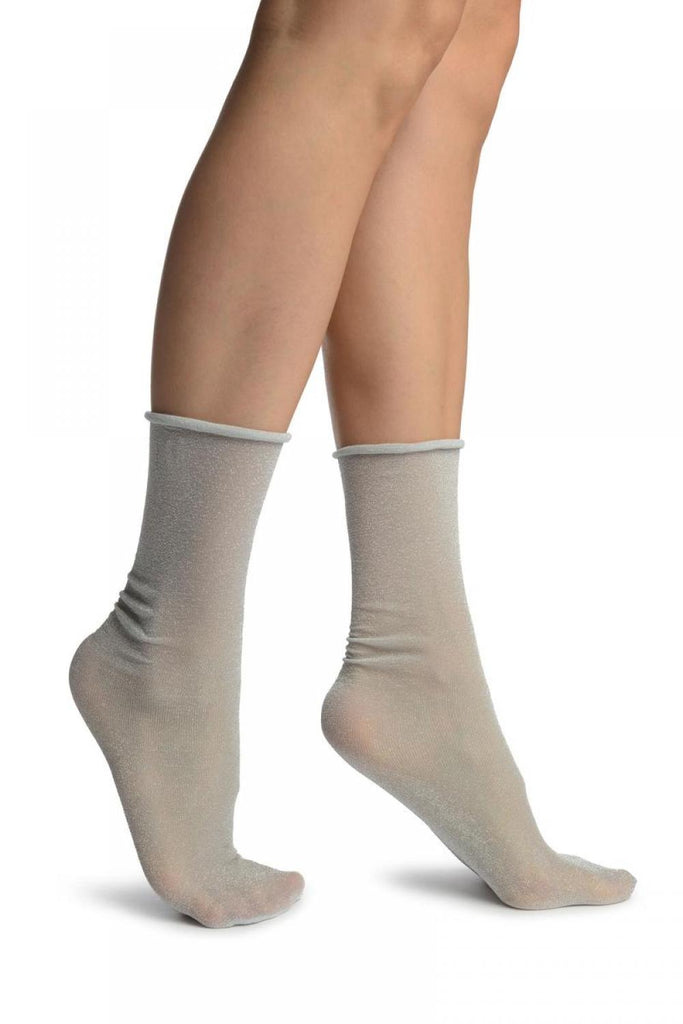 Grey With Silver Lurex Comfort Top Ankle High Socks