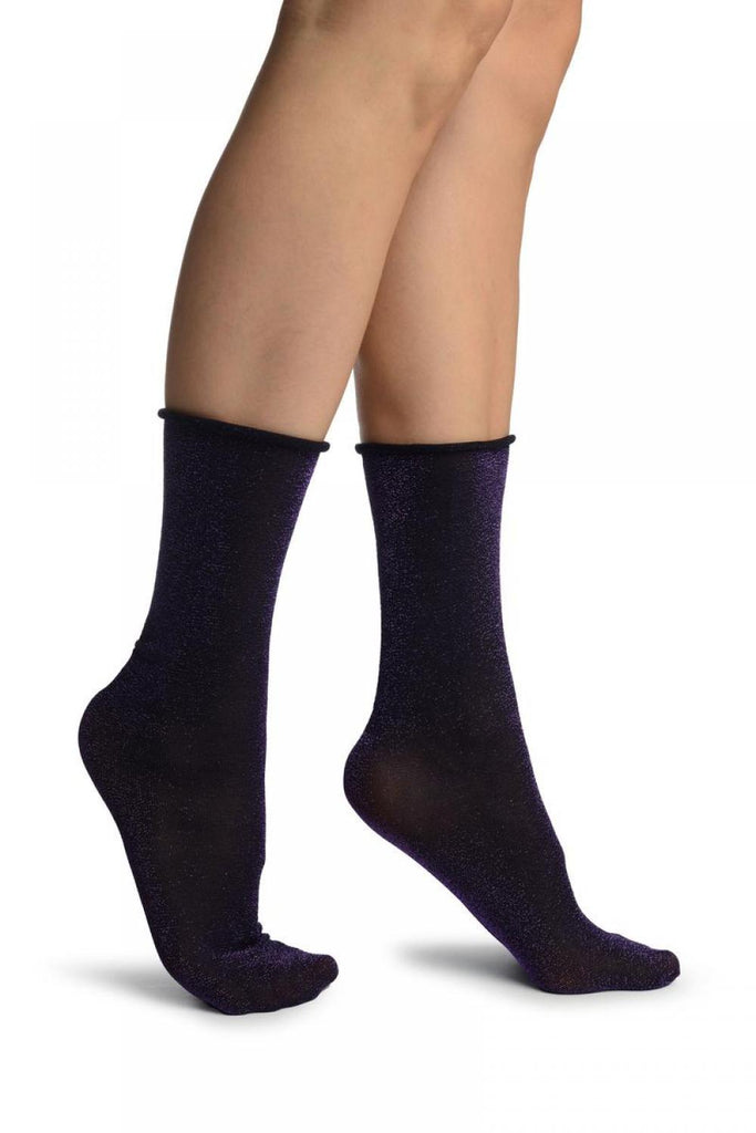 Black With Purple Lurex Comfort Top Ankle High Socks