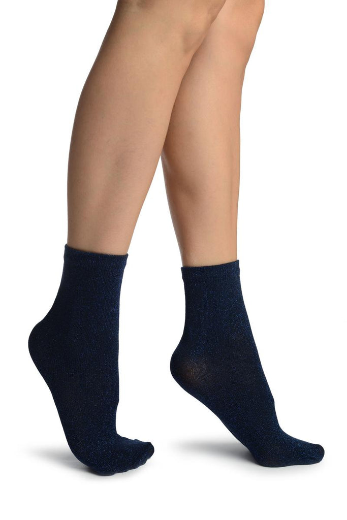 Black With Blue Lurex Ankle High Socks