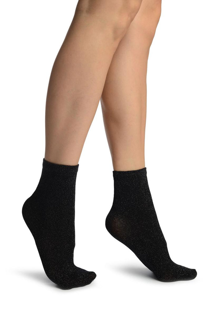 Black With Silver Lurex Ankle High Socks