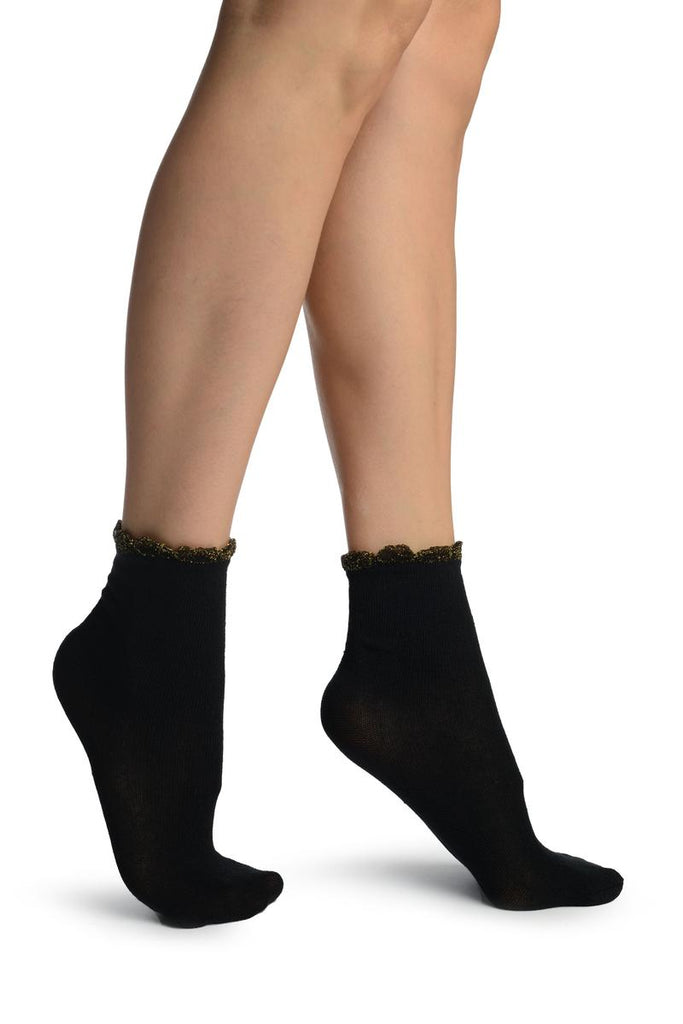 Black With Gold Lurex Petals Top Ankle High Socks