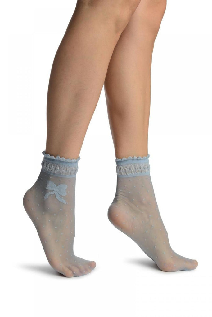 Light Blue With Dots & Bow Comfort Top Ankle High Socks